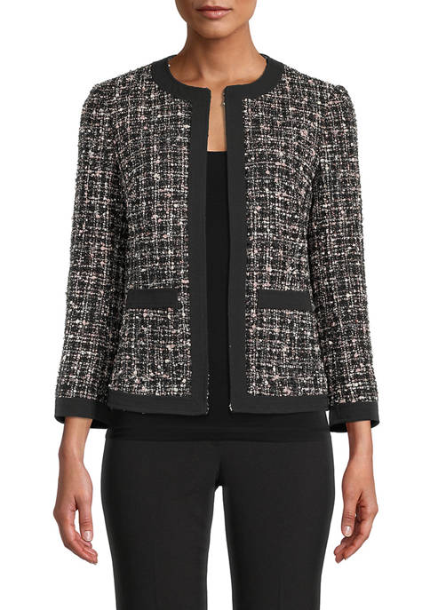 Womens Space Dyed Tweed Frame Jacket with Pockets