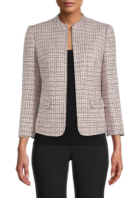 Anne Klein Womens Texture Mandarin Collar Jacket