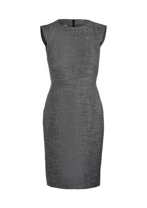 Womens Tweed Extended Shoulder Shift Dress