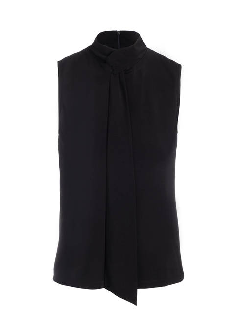 Womens Sleeveless Tie Neck Knit Top