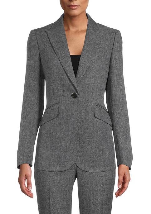 Anne Klein Womens Herringbone Peak Lapel Suit Jacket