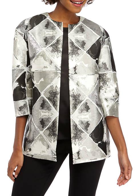 Womens Metallic Jacquard Topper Jacket