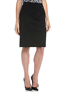 Flat Front Solid Skirt