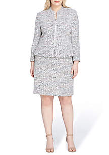 Plus Size Tweed Skirt Suit with Brooch