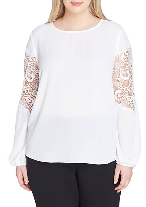 Tahari ASL Plus Size Long Sleeve Georgette Lace