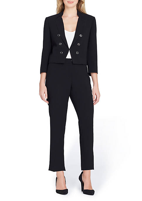 Tahari ASL Military Wing Collar Pant Suit