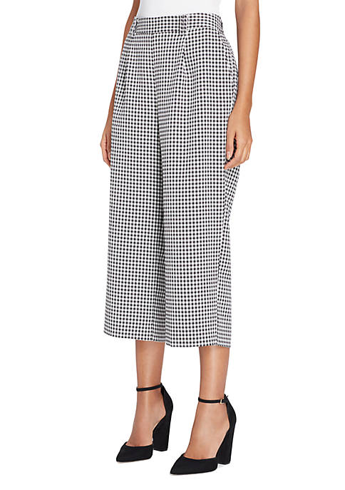 Tahari ASL Petite Wide Leg Gingham Crop Pants