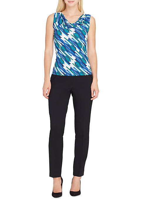 Tahari ASL Check Print with Ruffle Sleeve Top