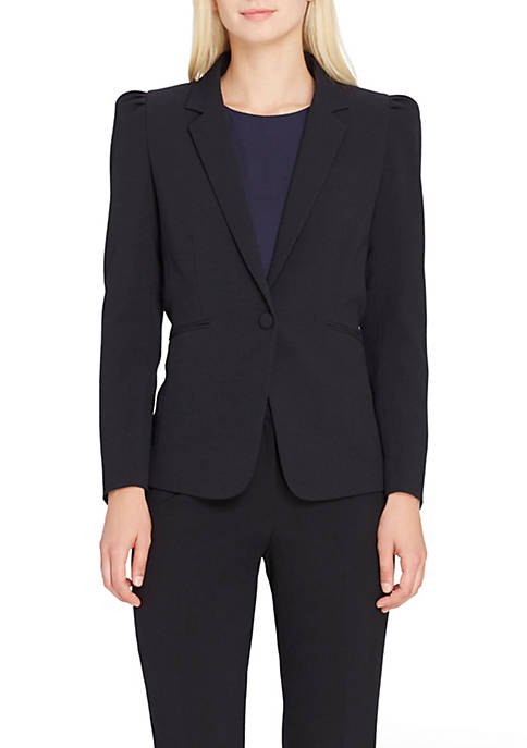 Tahari ASL One-Button Ruffle Shoulder Jacket