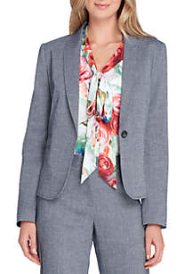 Chambray One-Button Jacket