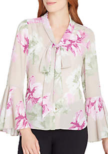 Long Sleeve Tie Front Floral Woven Blouse