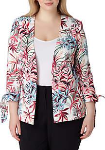 Plus Size Star Neck Leaf Printed Tie Sleeve Jacket