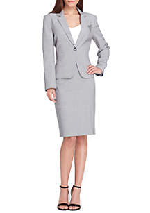 Button Notch Collar Chain Pin Detail Jacket and Skirt Suit