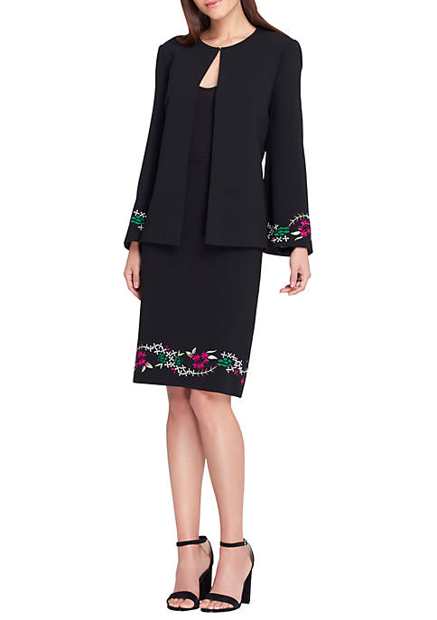 Tahari ASL Collarless Open Embroidered Jacket And Skirt