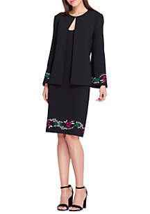 Collarless Open Embroidered Jacket And Skirt Suit
