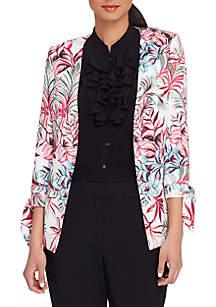 Floral Print Open Jacket