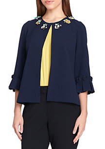 Ruffle Sleeve Open Front Jewel Neck Jacket