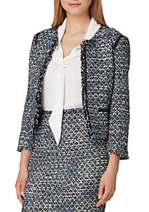 Open Boucle Jacket with Trim