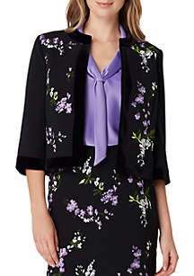 Embroidered Open Front Short Jacket