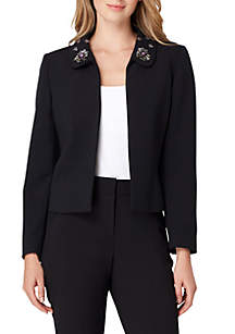 Embroidered Open Front Collar Jacket