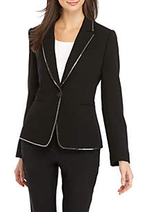 Button Front Jacket with Stud Trim