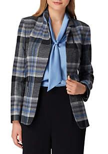 Large Plaid Button Jacket