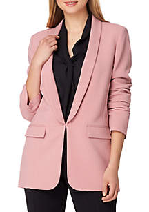 Long Jacket with Ruched Sleeves