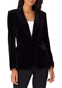 1-Button Velvet Jacket