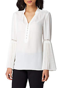 V-Neck Popover Stand Collar Blouse with Accordion Sleeve Trim