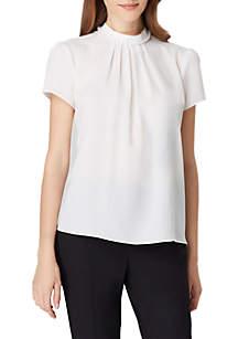 Short Sleeve Pearl Trim Blouse