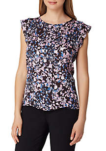 Flutter Sleeve Floral Print Top with Ruffle Trim