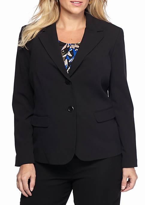 Plus Size Double-Button Jacket