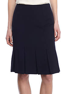 Solid Bi Stretch Skirt With Pleats