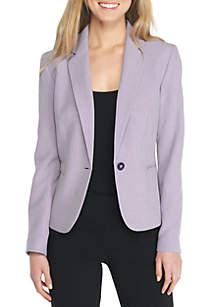 Melange One Button Notch Collar Jacket