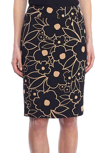 Nine West Floral Crepe Skirt ...