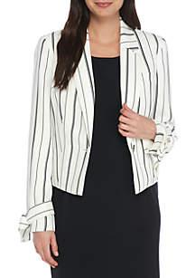 Striped Tie Sleeve Jacket