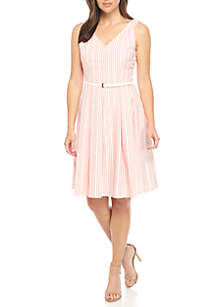 Belted Seerscuker Dress