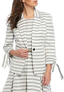 Tie Sleeve Striped 1 Button Jacket