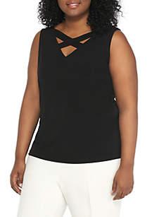 Plus Size Solid Crisscross Blouse