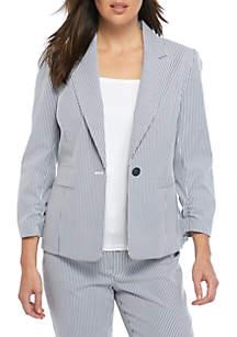 Mini Seersucker One Button Jacket