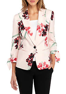 Printed One-Button Jacket with Tie Sleeves