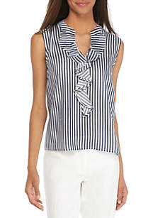 Sleeveless Ruffle Front Woven Top