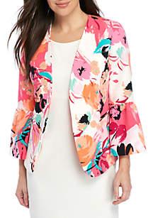 Printed Floral Ruffle Sleeve Jacket