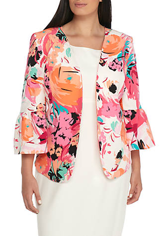Printed Floral Ruffle Jacket Nine West Lowest Price Sale Online xt4Wk