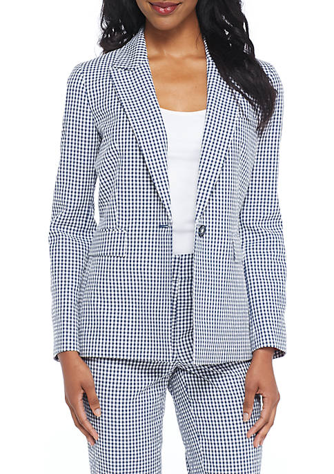 Nine West One-Button Gingham Jacket
