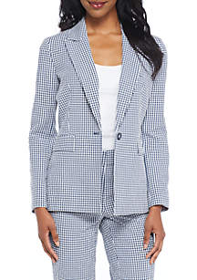 One-Button Gingham Jacket