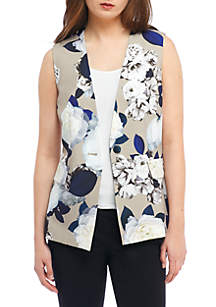 Sleeveless Print One-Button Vest