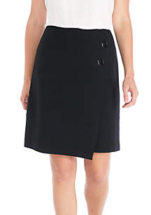 Crepe Wrap Two-Button Skirt