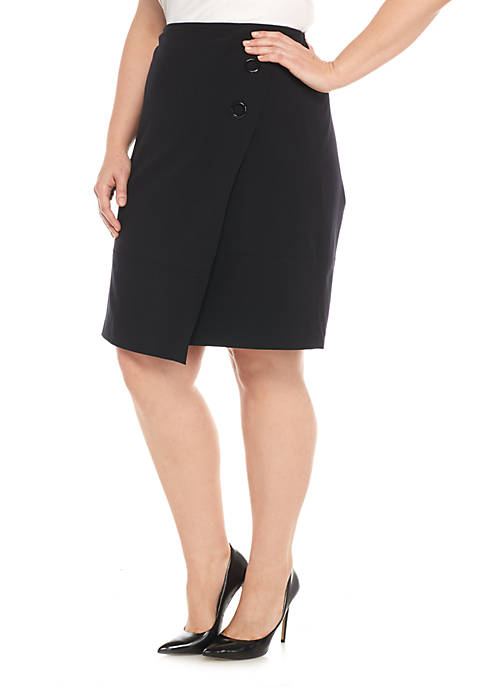 Nine West Crepe Wrap with Two Button Skirt