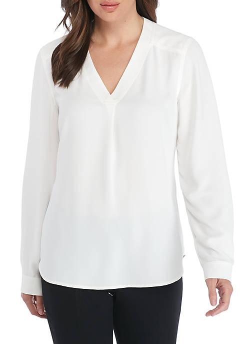 Nine West Long Sleeve Crepe V-Neck Blouse